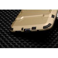 Двухкомпонентный силиконовый чехол с пластиковыми вставками и подставкой для Meizu M3 Note Бежевый