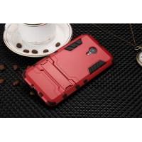 Двухкомпонентный силиконовый чехол с пластиковыми вставками и подставкой для Meizu M3 Note Красный