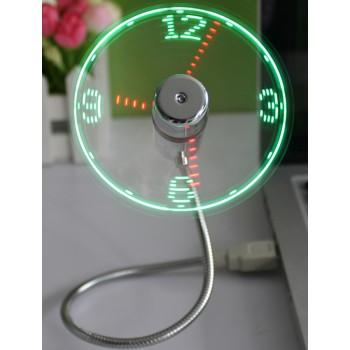 Ультрапортативный USB 2.0-вентилятор на гибком штативе 40 см со встроенной LED-подсветкой-часами