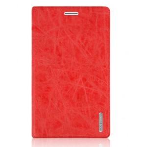Винтажный чехол подставка на силиконовой основе с присосками и отделением для карт для Huawei MediaPad X2 Красный