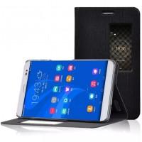 Чехол подставка текстура Металлик на силиконовый основе с окном вызова для Huawei MediaPad X2 Черный