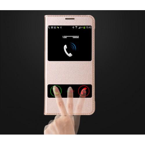Чехол флип подставка на пластиковой основе с окном вызова и свайпом для Samsung Galaxy J7 (2016)