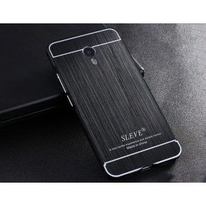Двухкомпонентный чехол с металлическим бампером и текстурной поликарбонатной накладкой для Meizu M3 Note