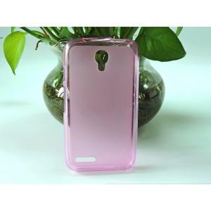 Силиконовый матовый полупрозрачный чехол для Alcatel One Touch Pixi 4 (3.5) Розовый