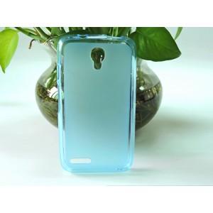 Силиконовый матовый полупрозрачный чехол для Alcatel One Touch Pixi 4 (3.5) Голубой