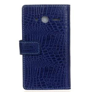 Чехол портмоне подставка с защелкой текстура Крокодил для Alcatel One Touch Pixi 4 (4) Синий