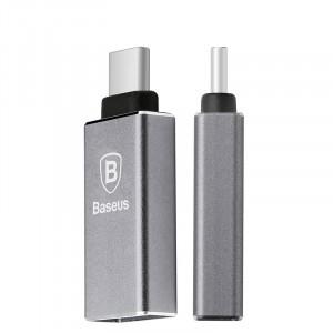 Ультракомпактный премиум переходник Micro USB/USB type C (симметричный) с металлической поверхностью Серый