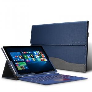 Чехол папка подставка с рамочной защитой экрана текстура Джинса с крепежной резинкой и петлей для стилуса для Microsoft Surface Pro 4 Синий