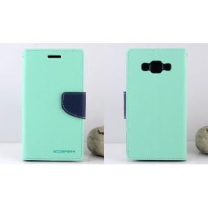 Текстурный чехол портмоне подставка на силиконовой основе с дизайнерской застежкой для Samsung Galaxy J3 (2016) Зеленый