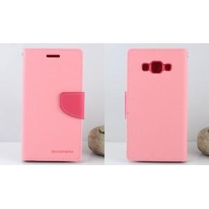 Текстурный чехол портмоне подставка на силиконовой основе с дизайнерской застежкой для Samsung Galaxy J3 (2016) Розовый