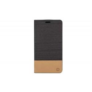 Чехол портмоне подставка на силиконовой основе с отделением для карты и тканевым покрытием для ASUS Zenfone 2 Черный