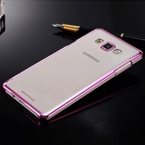 Пластиковый матовый полупрозрачный чехол с металлизированными границами для Samsung Galaxy A5