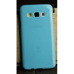 Глянцевый силиконовый непрозрачный чехол для Samsung Galaxy A3 Голубой