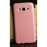 Глянцевый силиконовый непрозрачный чехол для Samsung Galaxy A3 Розовый