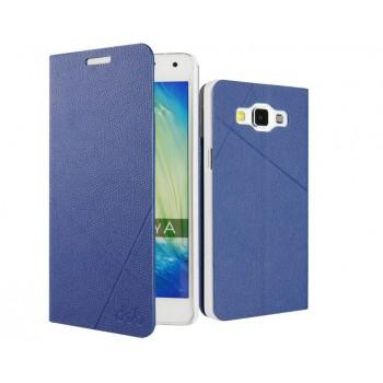 Чехол портмоне подставка на пластиковой основе с защелкой текстура Линии для Samsung Galaxy A3
