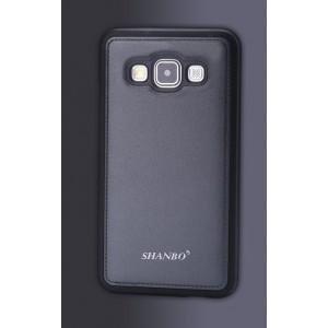 Силиконовый непрозрачный матовый чехол текстура Кожа для Samsung Galaxy A3 Серый