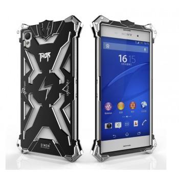 Цельнометаллический противоударный чехол из авиационного алюминия на винтах с мягкой внутренней защитной прослойкой для гаджета с прямым доступом к разъемам для Sony Xperia Z3