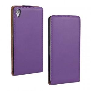 Чехол вертикальная книжка на пластиковой основе с магнитной застежкой для Sony Xperia Z3 Фиолетовый
