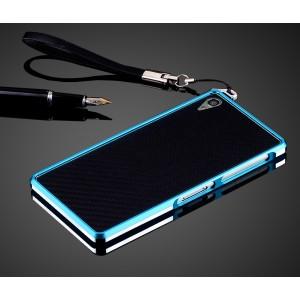 Металлический бампер для Sony Xperia Z3 Голубой