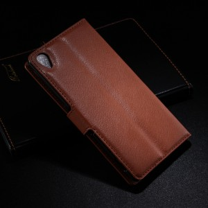 Чехол портмоне подставка с защелкой для Sony Xperia Z3 Коричневый