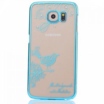 Пластиковый матовый дизайнерский чехол с ручной аппликацией стразами для Samsung Galaxy S6