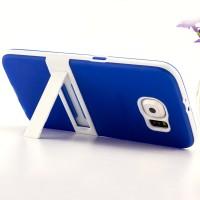 Двухкомпонентный силиконовый чехол с пластиковым бампером и подставкой для Samsung Galaxy S6 Синий