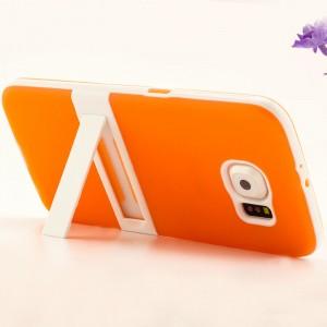 Двухкомпонентный силиконовый чехол с пластиковым бампером и подставкой для Samsung Galaxy S6 Оранжевый