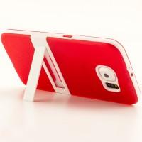 Двухкомпонентный силиконовый чехол с пластиковым бампером и подставкой для Samsung Galaxy S6 Красный