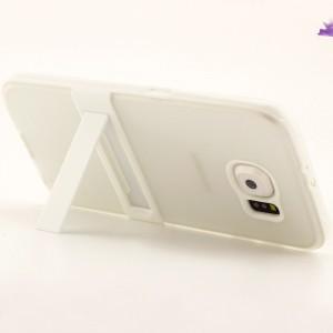 Двухкомпонентный силиконовый чехол с пластиковым бампером и подставкой для Samsung Galaxy S6 Белый