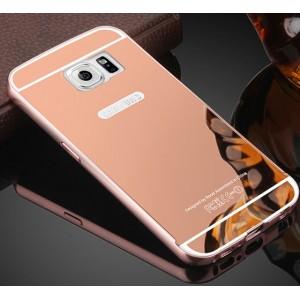 Гибридный металлический двухкомпонентный чехол с поликарбонатной крышкой с зеркальным покрытием для Samsung Galaxy S6 Розовый