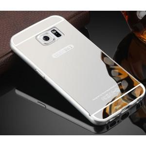 Гибридный металлический двухкомпонентный чехол с поликарбонатной крышкой с зеркальным покрытием для Samsung Galaxy S6 Белый