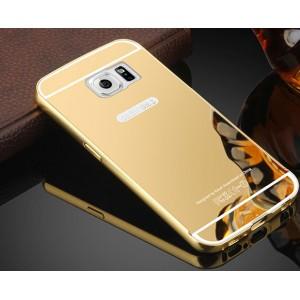 Гибридный металлический двухкомпонентный чехол с поликарбонатной крышкой с зеркальным покрытием для Samsung Galaxy S6 Бежевый