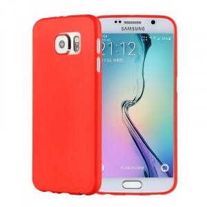 Силиконовый матовый непрозрачный экстратонкий чехол для Samsung Galaxy S6 Красный