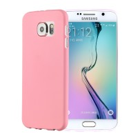 Силиконовый матовый непрозрачный экстратонкий чехол для Samsung Galaxy S6 Розовый