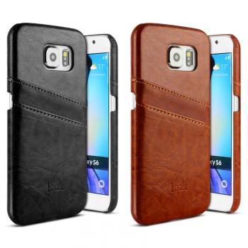 Чехол накладка с отделением для карт текстура Кожа для Samsung Galaxy S6