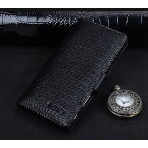 Кожаный чехол портмоне (премиум нат. кожа крокодила) с крепежной застежкой для Sony Xperia XA Черный