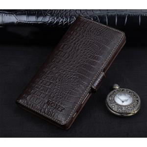 Кожаный чехол портмоне (премиум нат. кожа крокодила) с крепежной застежкой для Sony Xperia XA Коричневый