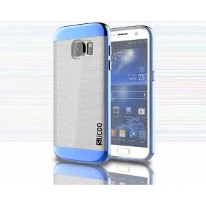 Антиударный гибридный силиконовый чехол с поликарбонатным бампером для Samsung Galaxy S7 Синий