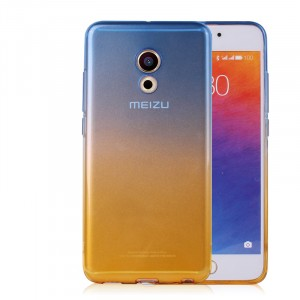 Силиконовый матовый полупрозрачный градиентный чехол для Meizu Pro 6