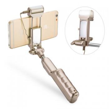 Телескопический экстралегкий 178 гр портативный монопод-держатель 86 см с функцией съемки через аудиоразъем, встроенным зеркалом и LED-вспышкой