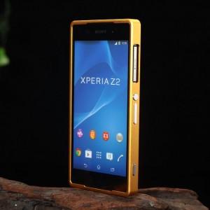 Металлический двухкомпонентный сборный бампер для Sony Xperia Z2 Оранжевый