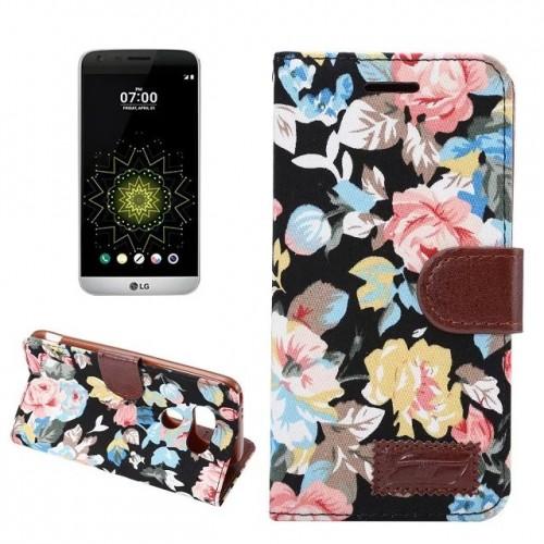 Чехол горизонтальная книжка подставка текстура Цветы на силиконовой основе с отсеком для карт на магнитной защелке для LG G5