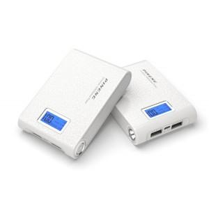 Портативный аккумулятор с LCD-экраном, USB-портом экспресс-заряда 2.1В, LED-фонариком и голографической текстурой 10000 мАч Белый