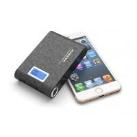 Портативный аккумулятор с LCD-экраном, USB-портом экспресс-заряда 2.1В, LED-фонариком и голографической текстурой 10000 мАч Черный