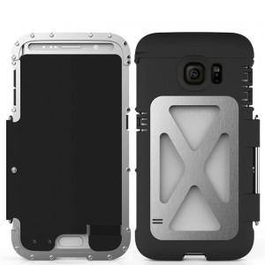 Экстразащитный противоударный чехол алюминий/силикон/поликарбонат с металлической крышкой для Samsung Galaxy S6 Edge