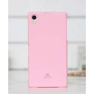 Силиконовый глянцевый чехол для Sony Xperia Z1 Розовый