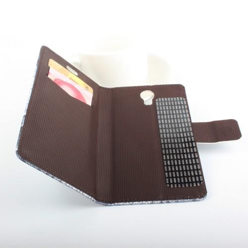 Чехол горизонтальная книжка подставка на клеевой основе с отсеком для карт и полноповерхностным принтом на магнитной защелке для Homtom HT3