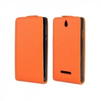 Чехол книжка вертикальная на пластиковой основе с магнитной защелкой для Sony Xperia E dual Оранжевый