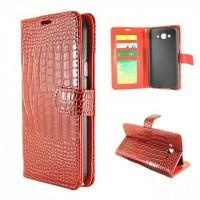 Чехол портмоне подставка текстура Крокодил на пластиковой основе на магнитной защелке для Samsung Galaxy J7 Красный