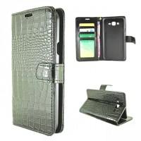 Чехол портмоне подставка текстура Крокодил на пластиковой основе на магнитной защелке для Samsung Galaxy J7 Черный